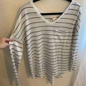 White and gray striped long sleeve sweater